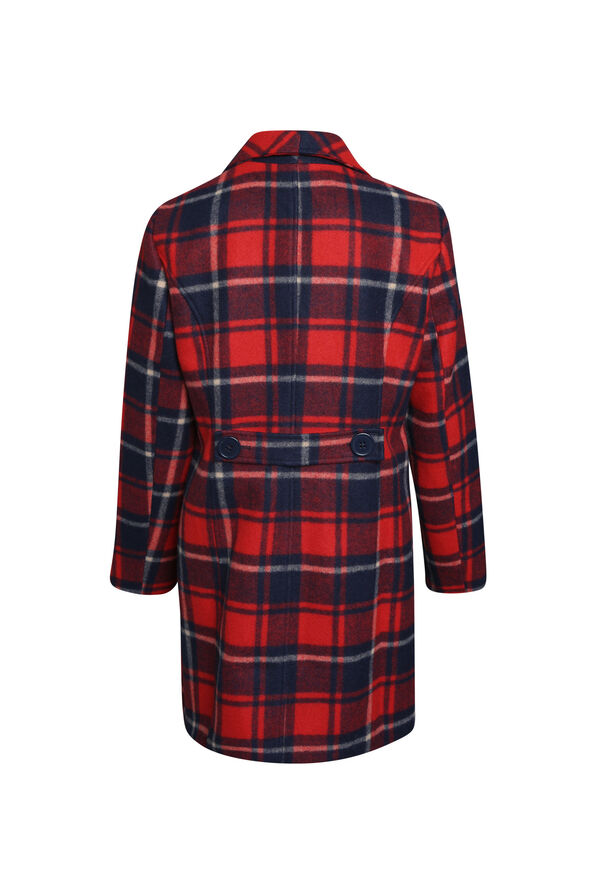 Plaid Pea Coat, Red, original image number 1