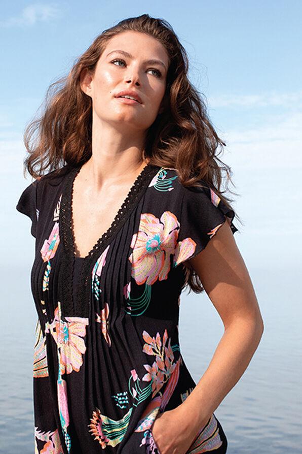 Tribal Flutter Sleeve Dress with Crochet Trim, Coral, original image number 0