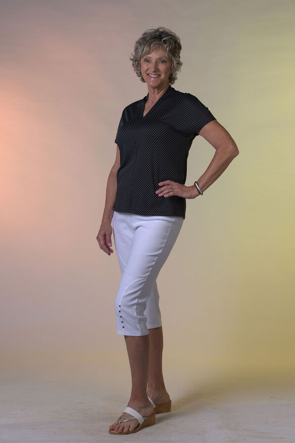 Pull On Capri with Button Detail, , original image number 0
