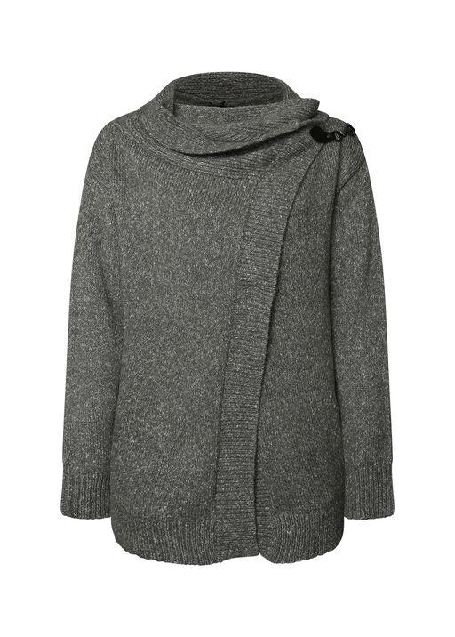 Buckle Wrap Sweater, Grey, original