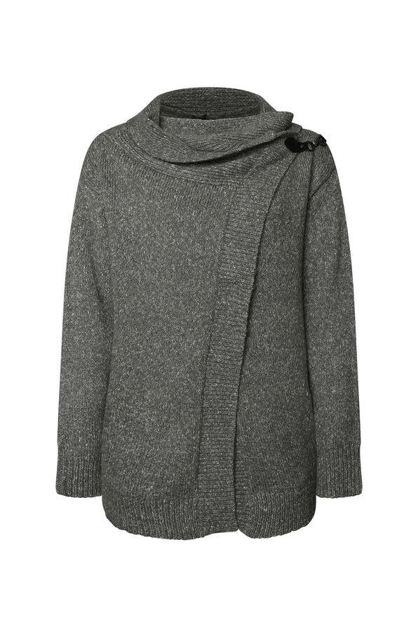 Buckle Wrap Sweater, Grey, original image number 0