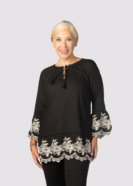 DaVinci Embroidered Tunic , Black, original