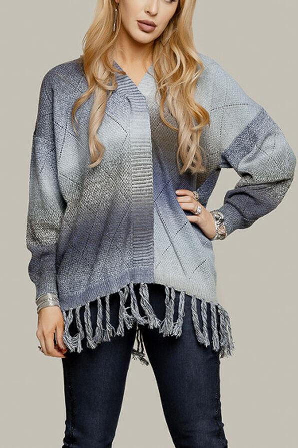 Long Sweater with Fringe, Blue, original image number 2