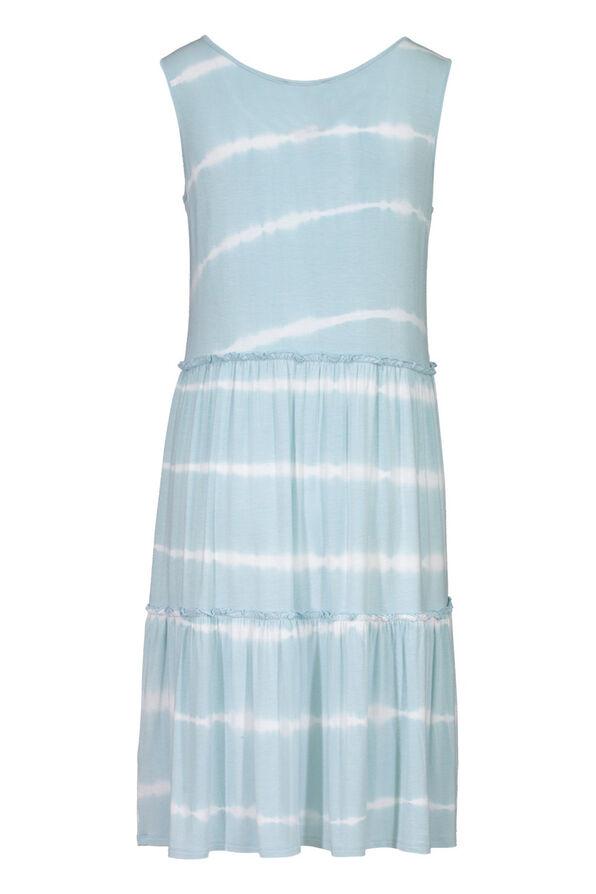 Tribal Tie Dye Ruffle Tiered Midi Dress, Blue, original image number 1