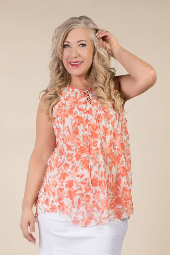 Lauren Sleeveless Blouse, Coral, original image number 0