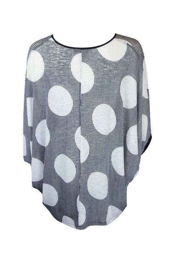 Polka Dot Dolman 3/4 Sleeve Top , Black, original image number 2