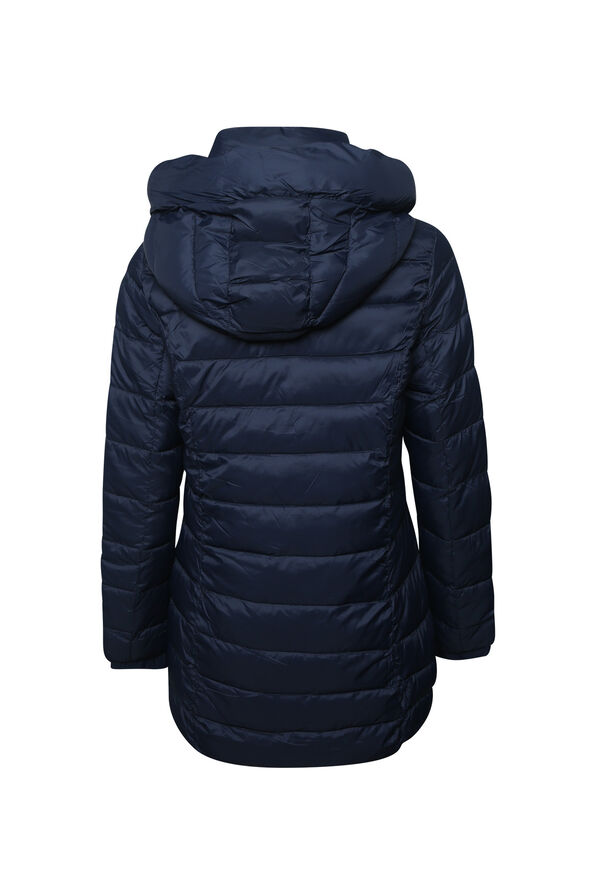 Contrast Long Ultralight Hooded Puffer Coat, Navy, original image number 1