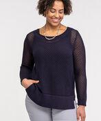 Crew Neck Open Stitch Sweater, Ink, original image number 2