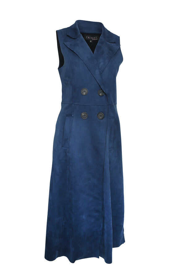 Faux Suede Sleeveless Duster, , original image number 1