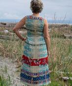 Mixed Print Midi Dress with Smocked Bodice, Emerald, original image number 1