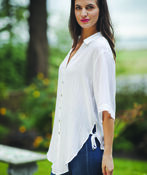 Button Front Blouse with Side Ties Hi-Lo Hem, , original image number 0