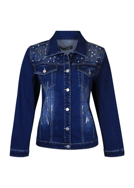 Pearl Sequins Dusted Denim Jacket, Denim, original