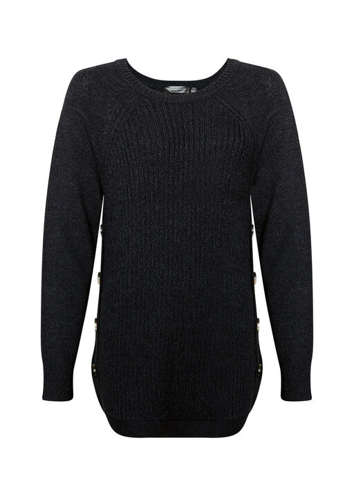 Side Button Cable Knit Sweater, , original