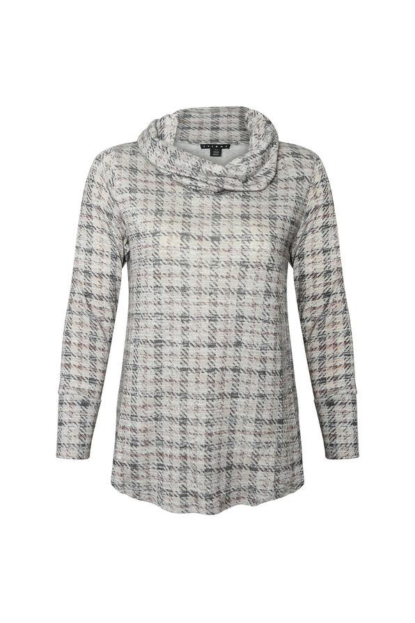 Soft Houndstooth Plaid Sweater , Cream, original image number 0