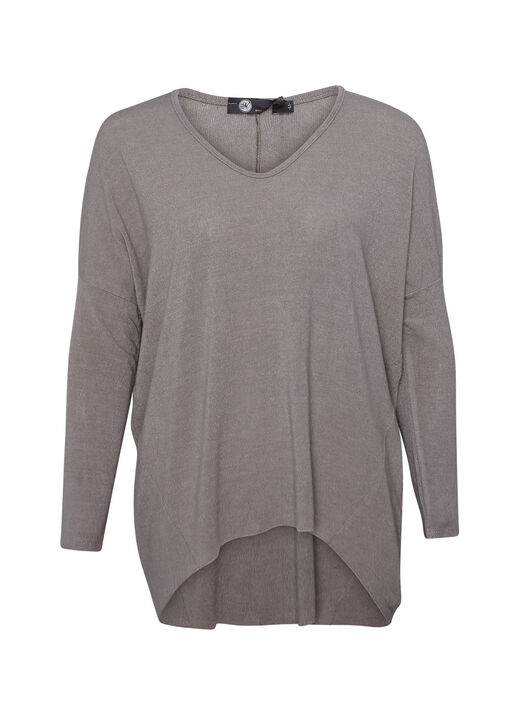 Hi-Lo Long Sleeve Top with Drop Shoulder , , original