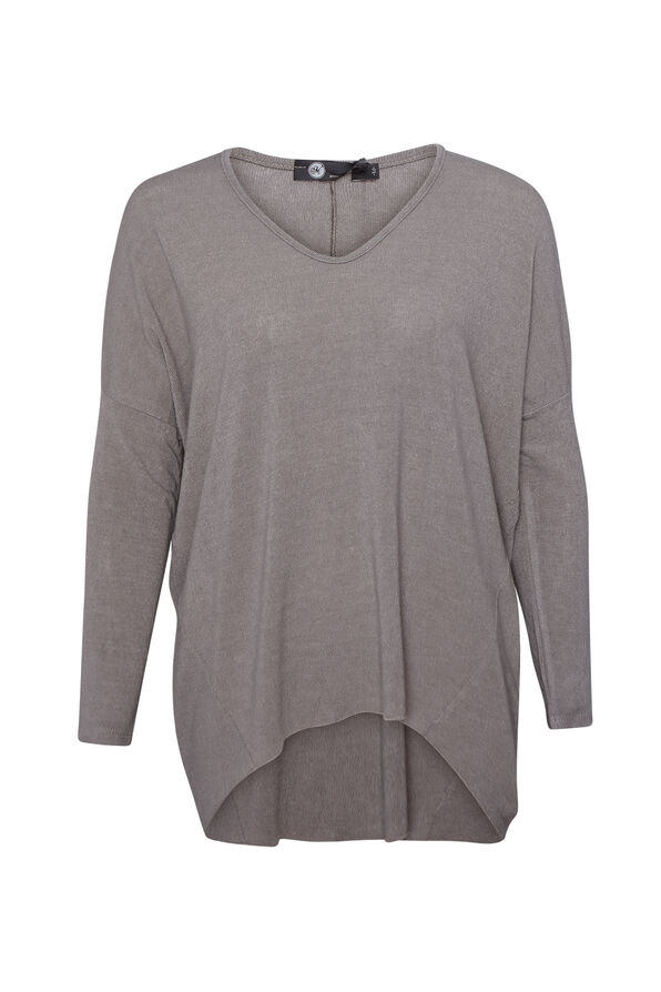 Hi-Lo Long Sleeve Top with Drop Shoulder , , original image number 1
