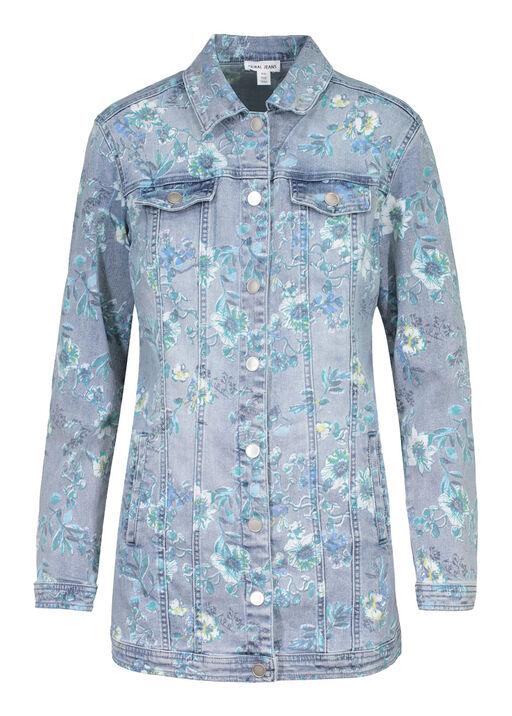 Floral Print Maxi Denim Jacket, Denim, original