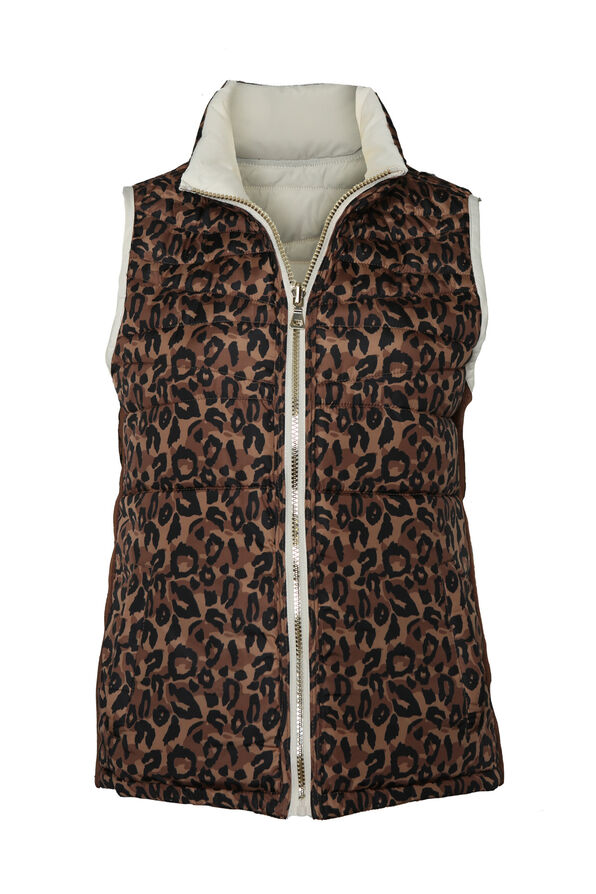 Reversible Animal Print Puffer Vest, Cream, original image number 2