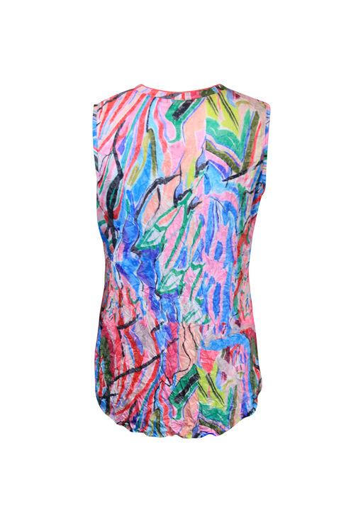 Crinkle Fabric V-Neck Tank Top, Pink, original