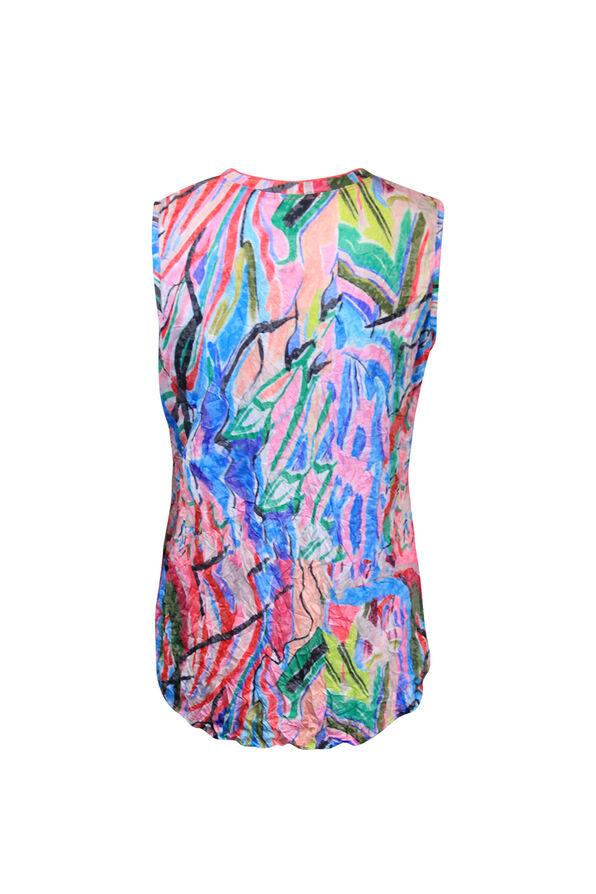 Crinkle Fabric V-Neck Tank Top, Pink, original image number 1