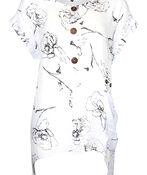 Cap Sleeve Printed Top with Coconut Buttons , Black, original image number 0