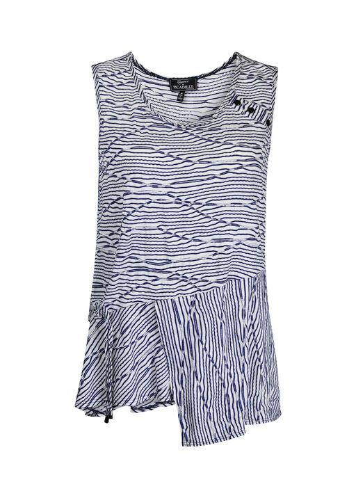 Sleeveless Stripe Top with Ruche and Asymmetrical Hem, Navy, original