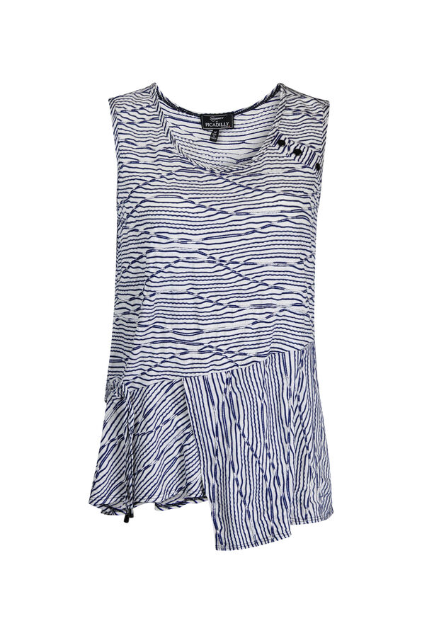 Sleeveless Stripe Top with Ruche and Asymmetrical Hem, Navy, original image number 0