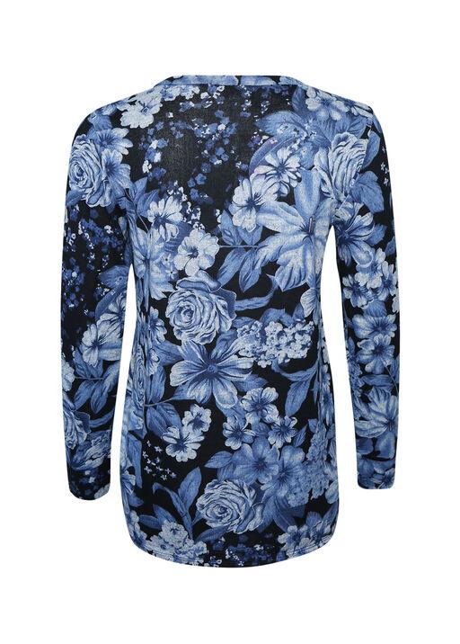 Printed Ruched Side Long Sleeve Top, Blue, original