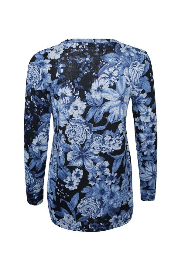 Printed Ruched Side Long Sleeve Top, Blue, original image number 1