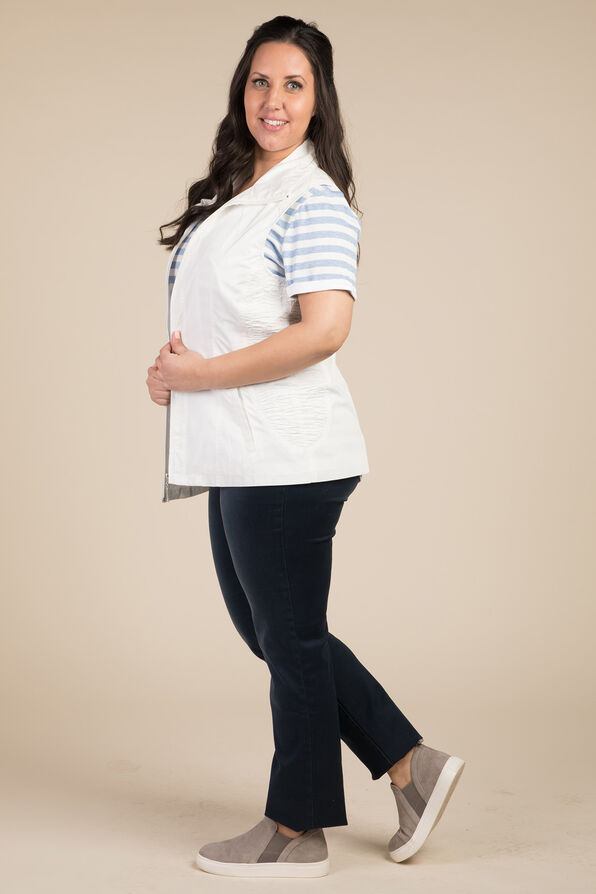 Zip Front Vest, White, original image number 3