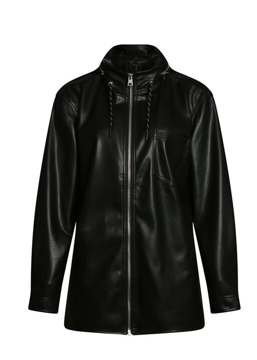 Autumn Pleather Jacket with Packable Hood, , original