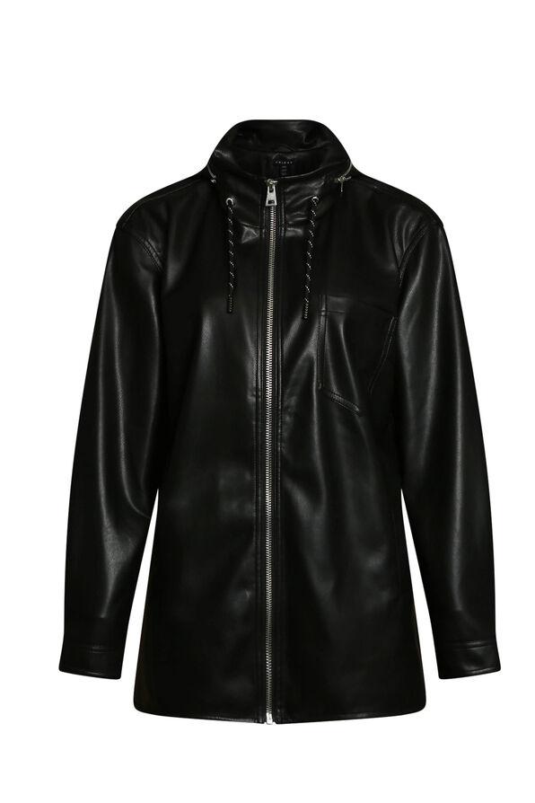 Autumn Pleather Jacket with Packable Hood, Black, original image number 0