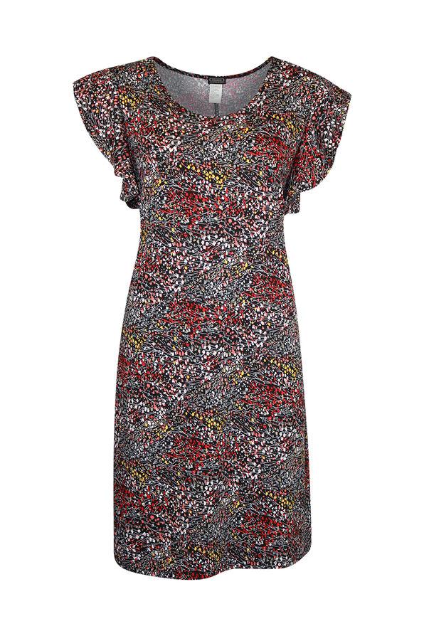 Flutter Sleeve Swing Dress, Black, original image number 0