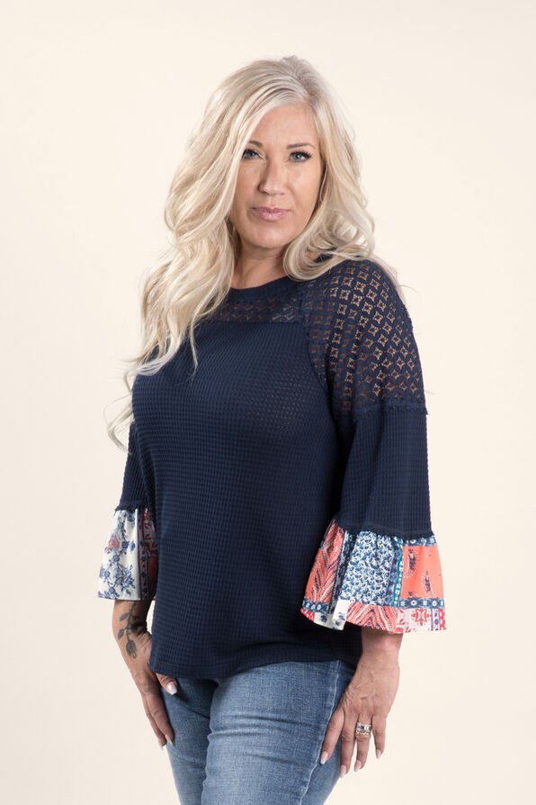 3/4 sleeve Solid and Print Top, Blue, original image number 2
