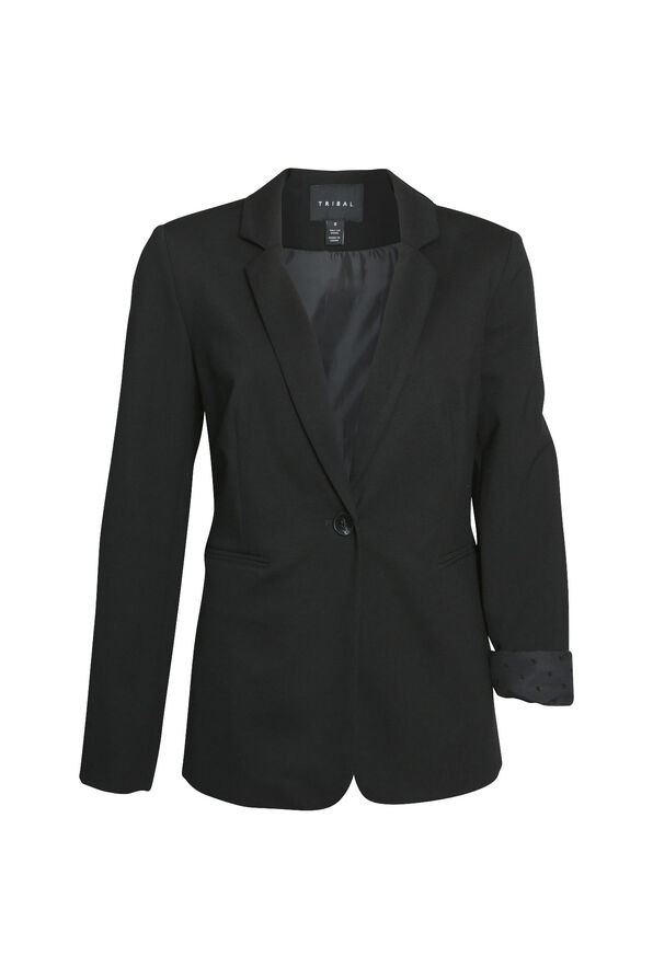 Swiss Dot Cuffed Blazer, Black, original image number 0