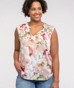 Sleeveless Floral Blouse with Accented Neckline, Sage, original image number 0