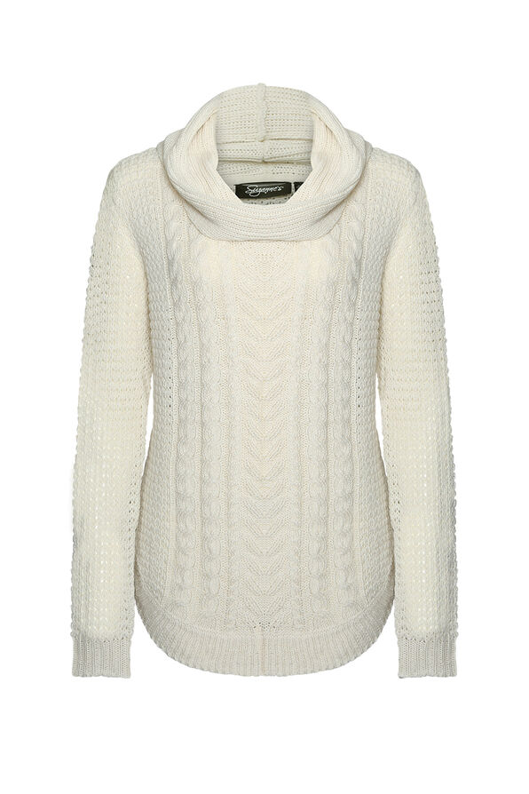 Sasha Cable Knit Sweater with Cowl Neck, Cream, original image number 0