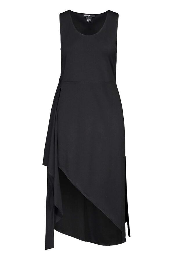 Sleeveless Wrap Black Dress Hi-Lo Hem, Black, original image number 1