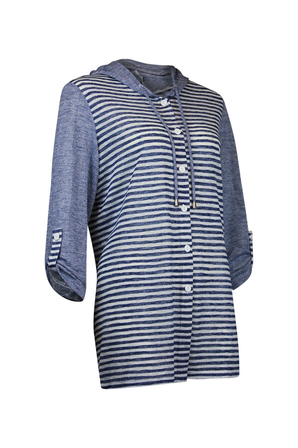 Striped Button Front Shirt 3/4 Sleeve with Hood, Navy, original image number 0