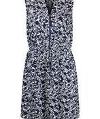 Zip Front Drawstring Waist Sleeveless Dress, Navy, original image number 0