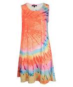 Tie Dye Sleeveless Shift Dress, Multi, original image number 0
