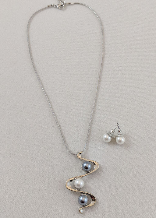 Pearl Swagger Necklace and Earring Set, , original