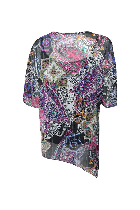 Paisley Print Short Sleeve with Keyhole Neckline, Purple, original image number 1