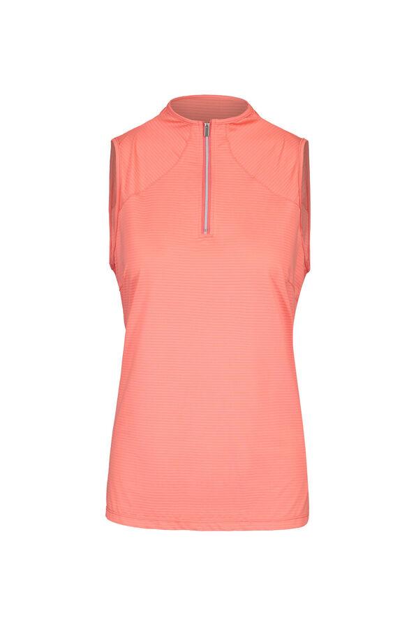 Mid Zip Sleeveless Polo Golf Shirt , , original image number 0