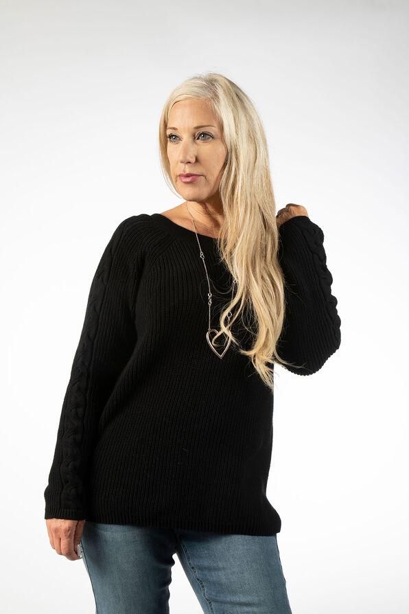 Wear It 2 Ways CableKnit Sweater, Black, original image number 1