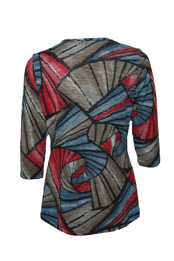 Asymmetrical Print 3/4 Sleeve, Denim, original image number 1