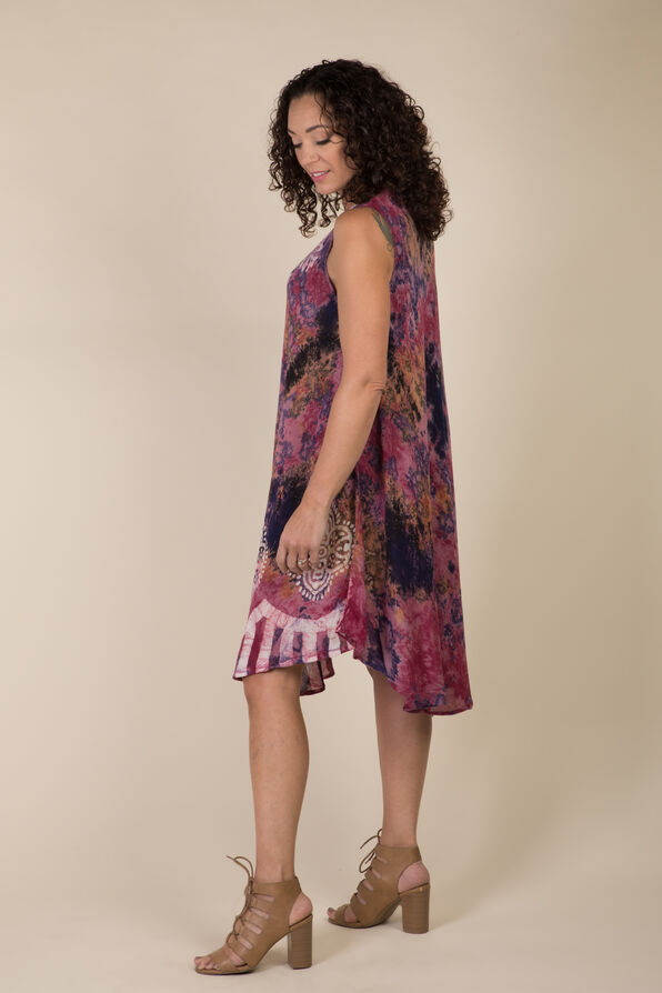 Sleeveless Embroidered Tie Dye Swing Dress, Pink, original image number 2