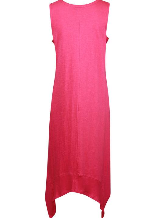 Sleeveless Cotton Midi Dress with Hankie Hem, Pink, original