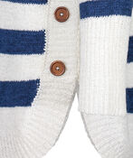 Striped Sweater with Crew Neck, Blue, original image number 5