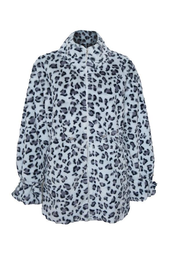 Faux Fur Animal Print Coat, Multi, original image number 0